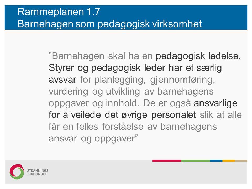 Rammeplanen 1.7 Barnehagen som pedagogisk virksomhet Barnehagen skal ha en pedagogisk ledelse.