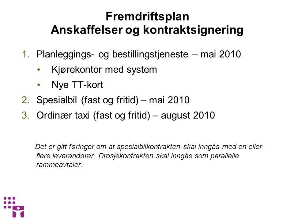 Fremdriftsplan Anskaffelser og kontraktsignering 1.Planleggings- og bestillingstjeneste – mai 2010 • Kjørekontor med system • Nye TT-kort 2.Spesialbil
