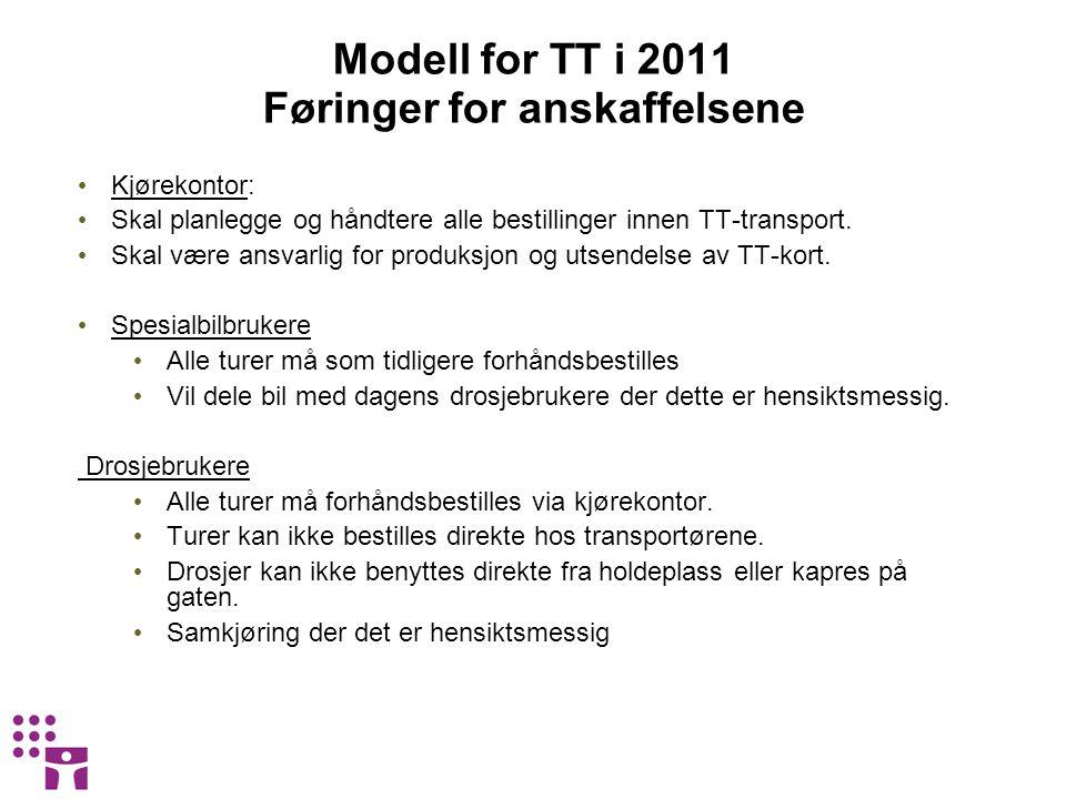 Modell for TT i 2011 Føringer for anskaffelsene • Kjørekontor: • Skal planlegge og håndtere alle bestillinger innen TT-transport. • Skal være ansvarli