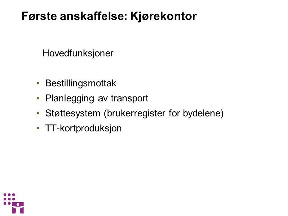 Første anskaffelse: Kjørekontor Hovedfunksjoner • Bestillingsmottak • Planlegging av transport • Støttesystem (brukerregister for bydelene) • TT-kortp
