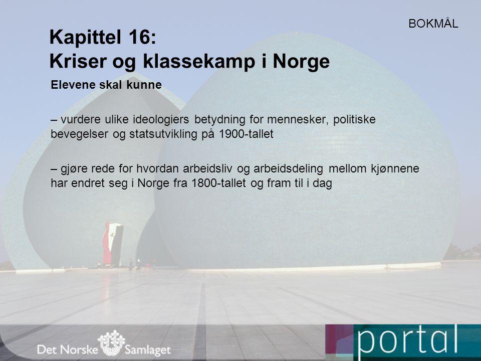 Kapittel 16: Kriser og klassekamp i Norge Elevene skal kunne – vurdere ulike ideologiers betydning for mennesker, politiske bevegelser og statsutvikli