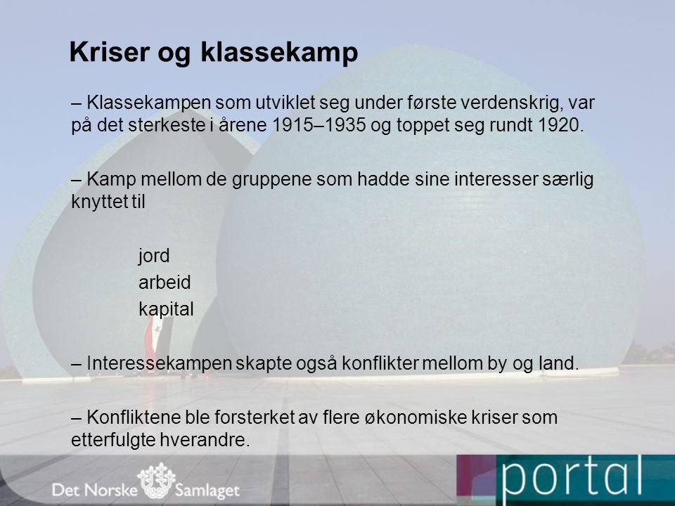 Tre klasser i kamp – Kapitalinteressene ble forsvart av Høyre, økonomiske liberalister i Venstre og av de fleste av næringslivets organisasjoner, som bankvesen og handel.