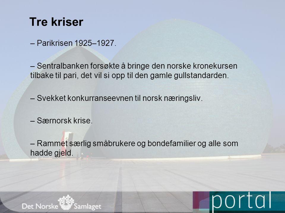 Tre kriser – Parikrisen 1925–1927. – Sentralbanken forsøkte å bringe den norske kronekursen tilbake til pari, det vil si opp til den gamle gullstandar
