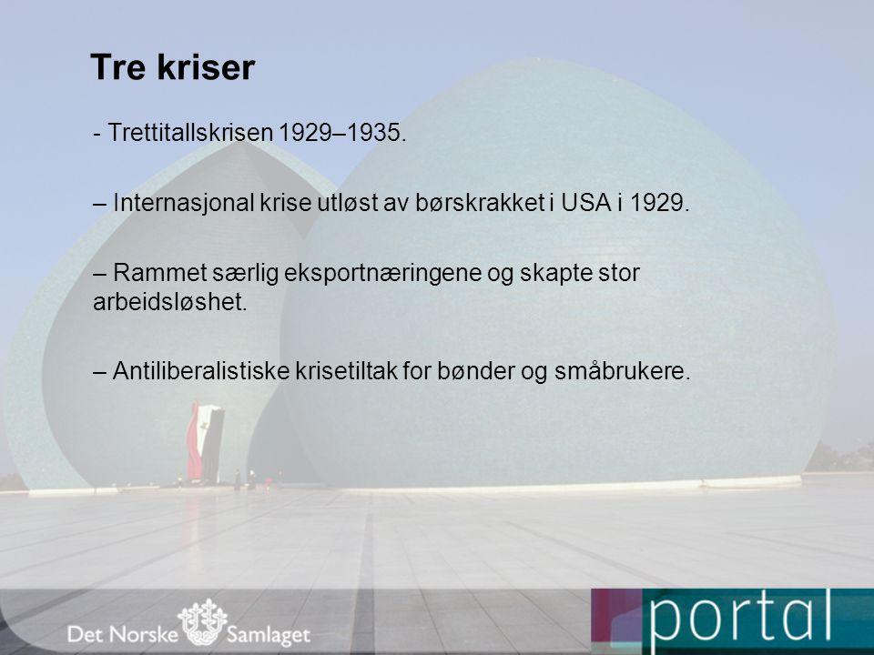 Tre kriser - Trettitallskrisen 1929–1935. – Internasjonal krise utløst av børskrakket i USA i 1929. – Rammet særlig eksportnæringene og skapte stor ar
