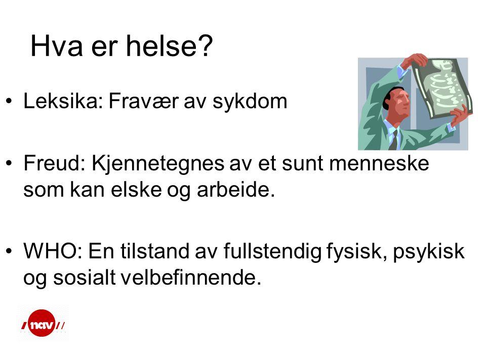 Hva er helse? •Leksika: Fravær av sykdom •Freud: Kjennetegnes av et sunt menneske som kan elske og arbeide. •WHO: En tilstand av fullstendig fysisk, p