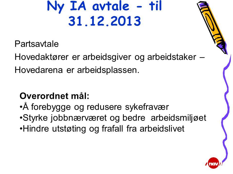 Ny IA avtale - til 31.12.2013 Partsavtale Hovedaktører er arbeidsgiver og arbeidstaker – Hovedarena er arbeidsplassen. Overordnet mål: •Å forebygge og