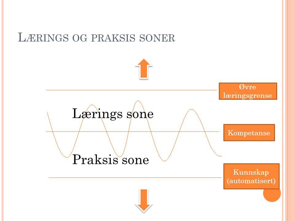 L ÆRINGS OG PRAKSIS SONER Kompetanse Øvre læringsgrense Kunnskap (automatisert) Lærings sone Praksis sone