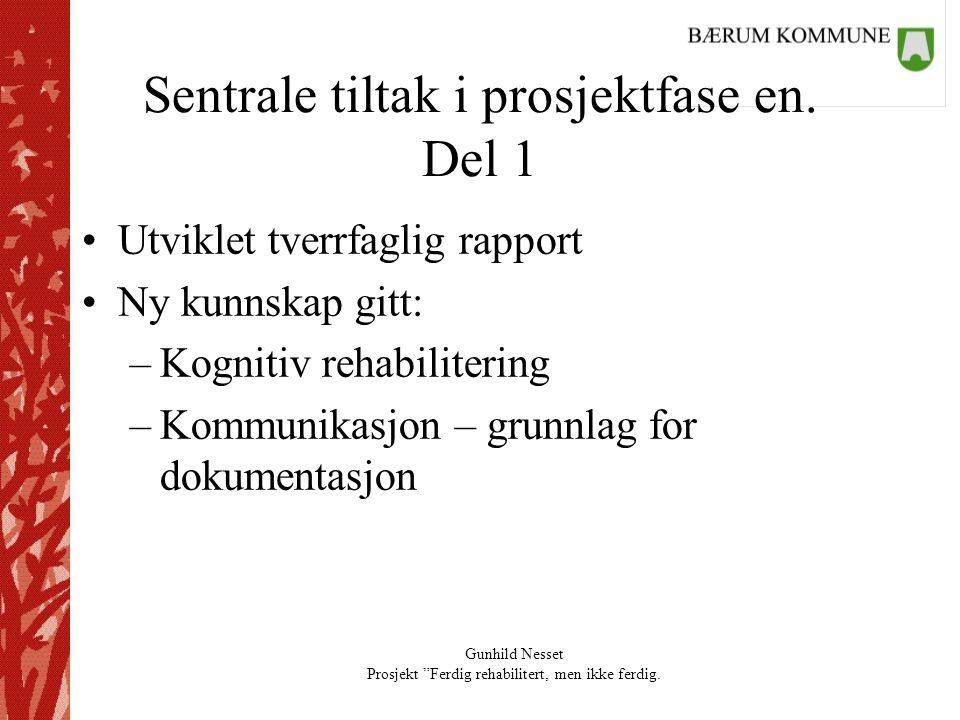 """Gunhild Nesset Prosjekt """"Ferdig rehabilitert, men ikke ferdig. Sentrale tiltak i prosjektfase en. Del 1 •Utviklet tverrfaglig rapport •Ny kunnskap git"""
