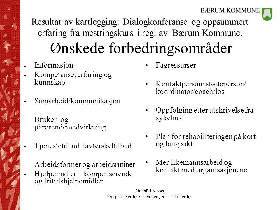 """Gunhild Nesset Prosjekt """"Ferdig rehabilitert, men ikke ferdig. Resultat av kartlegging: Dialogkonferanse og oppsummert erfaring fra mestringskurs i re"""