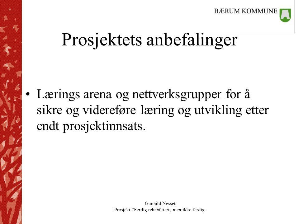 """Gunhild Nesset Prosjekt """"Ferdig rehabilitert, men ikke ferdig. Prosjektets anbefalinger •Lærings arena og nettverksgrupper for å sikre og videreføre l"""