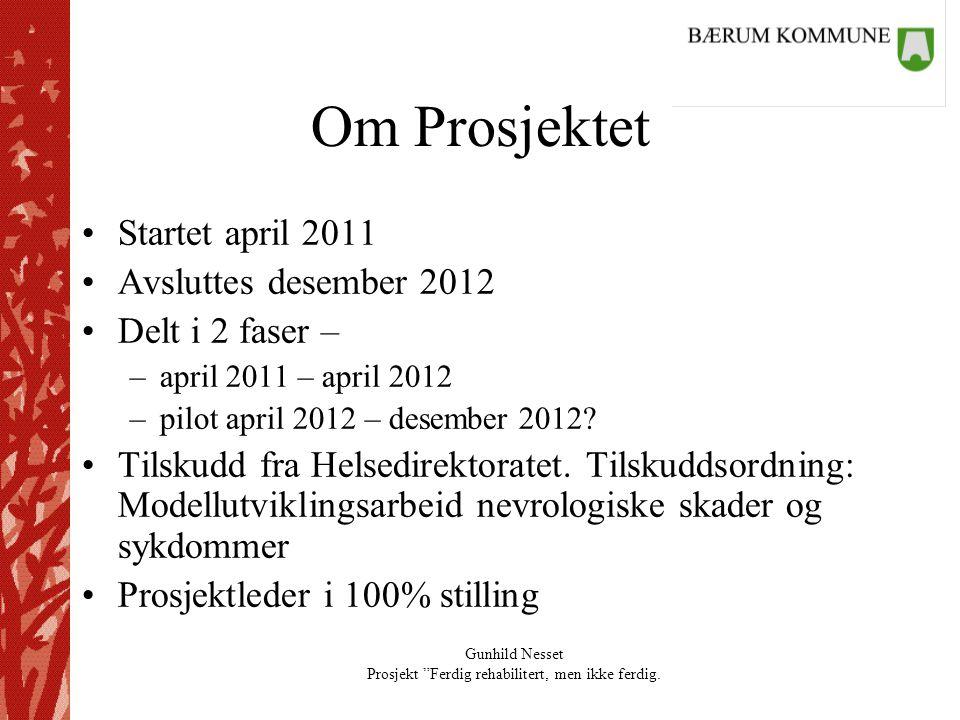 """Gunhild Nesset Prosjekt """"Ferdig rehabilitert, men ikke ferdig. Om Prosjektet •Startet april 2011 •Avsluttes desember 2012 •Delt i 2 faser – –april 201"""