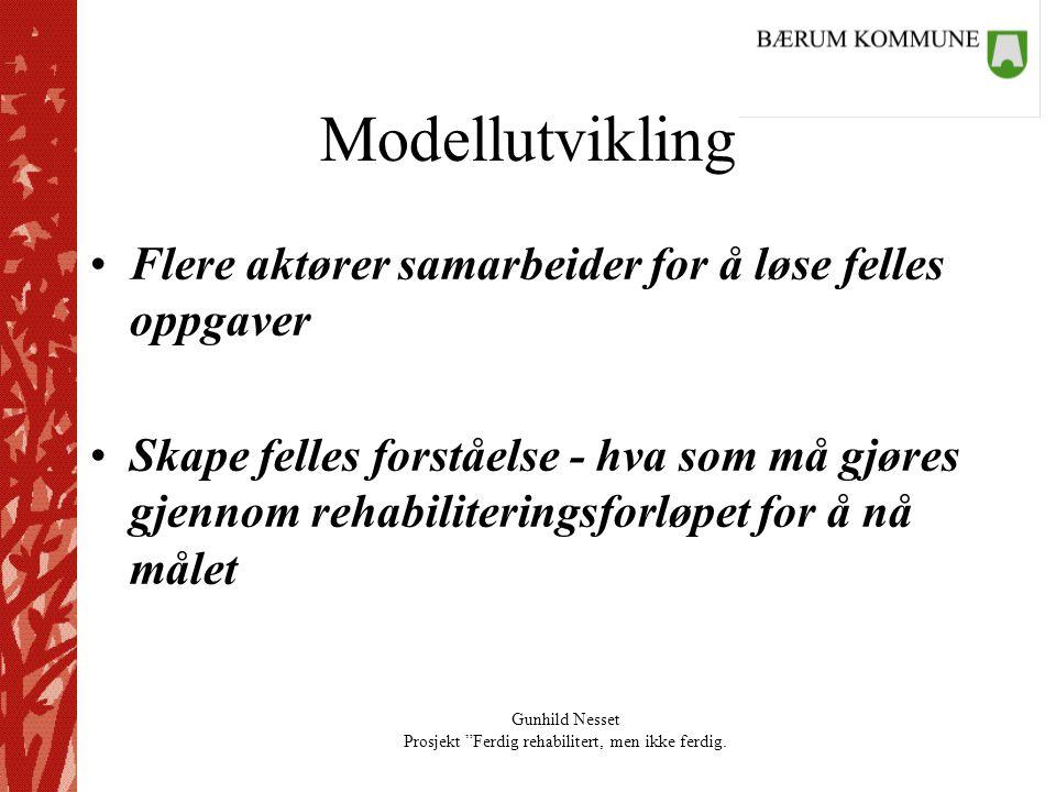 """Gunhild Nesset Prosjekt """"Ferdig rehabilitert, men ikke ferdig. Modellutvikling •Flere aktører samarbeider for å løse felles oppgaver •Skape felles for"""