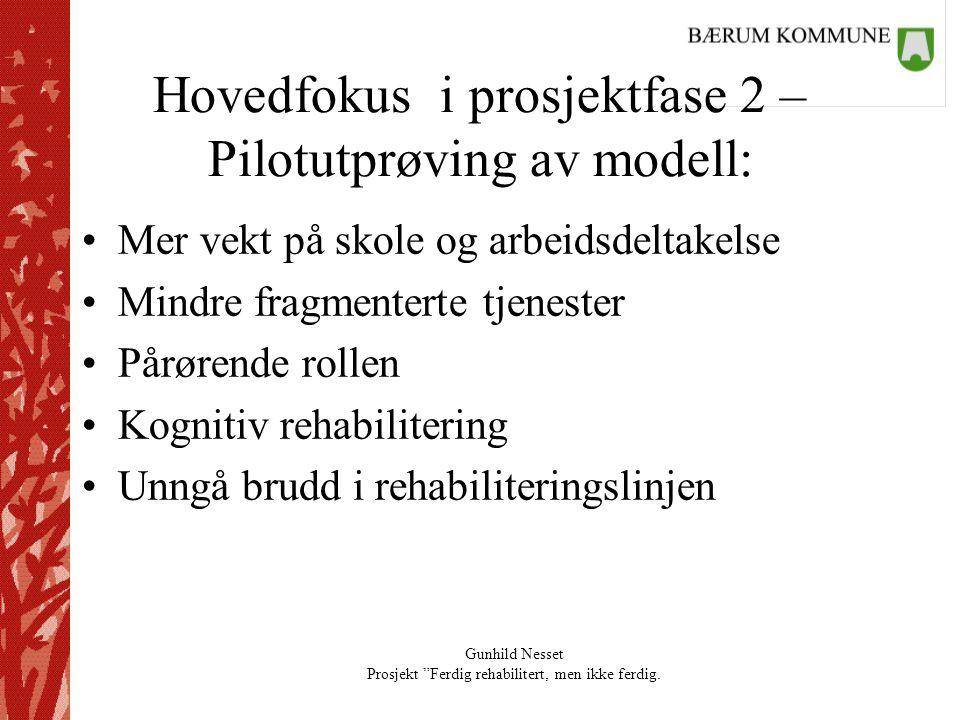 """Gunhild Nesset Prosjekt """"Ferdig rehabilitert, men ikke ferdig. Hovedfokus i prosjektfase 2 – Pilotutprøving av modell: •Mer vekt på skole og arbeidsde"""