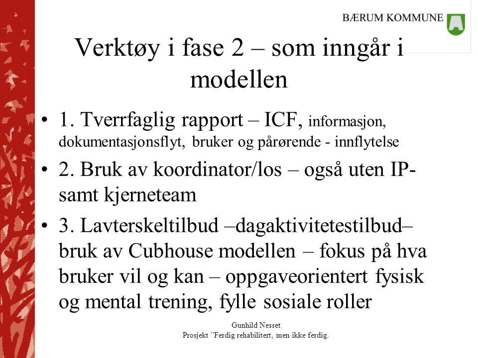 """Gunhild Nesset Prosjekt """"Ferdig rehabilitert, men ikke ferdig. Verktøy i fase 2 – som inngår i modellen •1. Tverrfaglig rapport – ICF, informasjon, do"""
