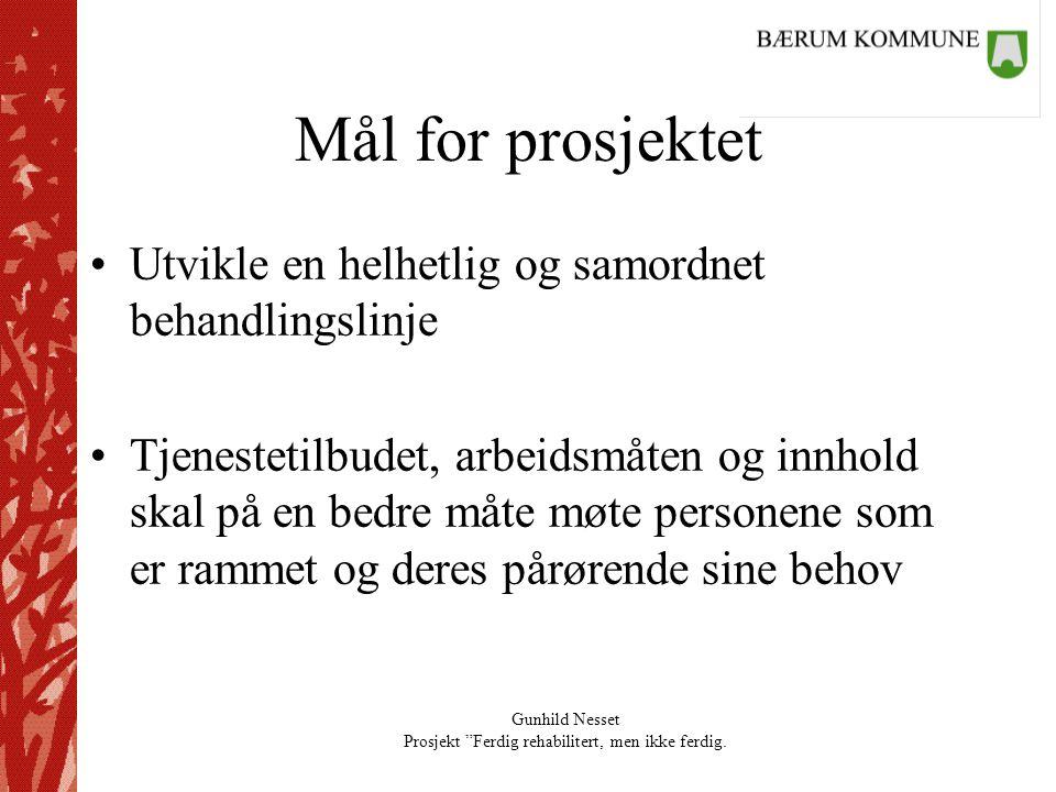 """Gunhild Nesset Prosjekt """"Ferdig rehabilitert, men ikke ferdig. Mål for prosjektet •Utvikle en helhetlig og samordnet behandlingslinje •Tjenestetilbude"""
