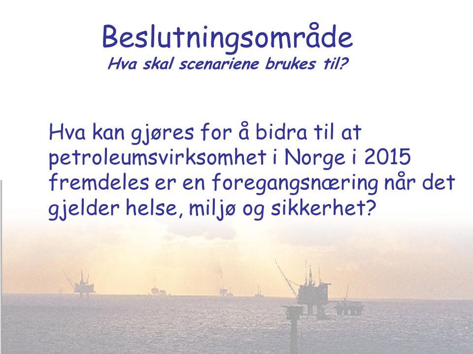 Beslutningsområde Hva skal scenariene brukes til? Hva kan gjøres for å bidra til at petroleumsvirksomhet i Norge i 2015 fremdeles er en foregangsnærin