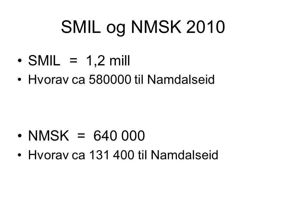 SMIL og NMSK 2010 •SMIL = 1,2 mill •Hvorav ca 580000 til Namdalseid •NMSK = 640 000 •Hvorav ca 131 400 til Namdalseid