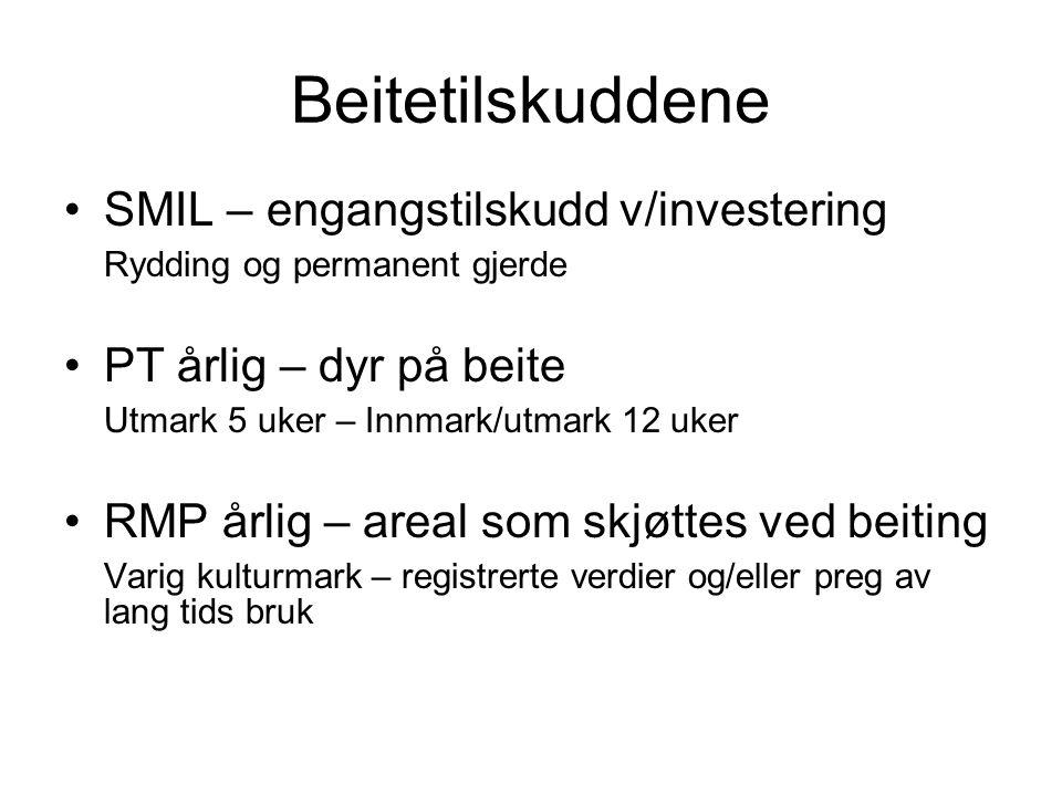 Beitetilskuddene •SMIL – engangstilskudd v/investering Rydding og permanent gjerde •PT årlig – dyr på beite Utmark 5 uker – Innmark/utmark 12 uker •RM