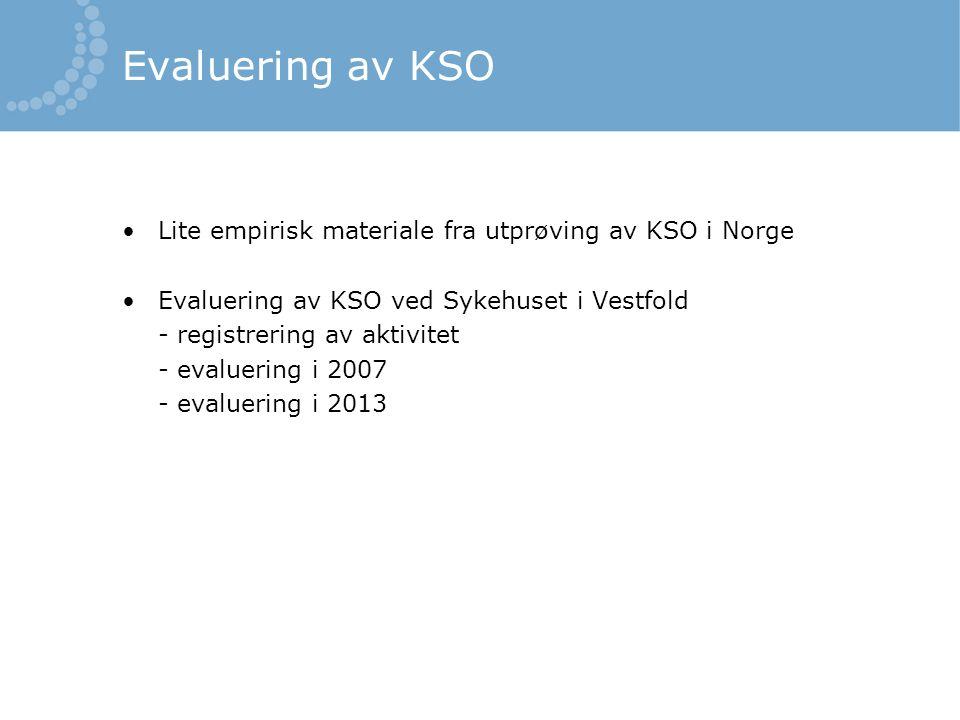 Evaluering av KSO •Lite empirisk materiale fra utprøving av KSO i Norge •Evaluering av KSO ved Sykehuset i Vestfold - registrering av aktivitet - eval