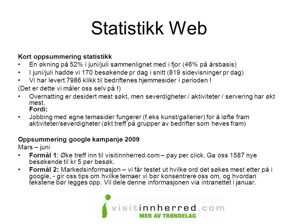 Statistikk Web Kort oppsummering statistikk •En økning på 52% i juni/juli sammenlignet med i fjor (46% på årsbasis) •I juni/juli hadde vi 170 besøkende pr dag i snitt (819 sidevisninger pr dag) •Vi har levert 7986 klikk til bedriftenes hjemmesider i perioden .