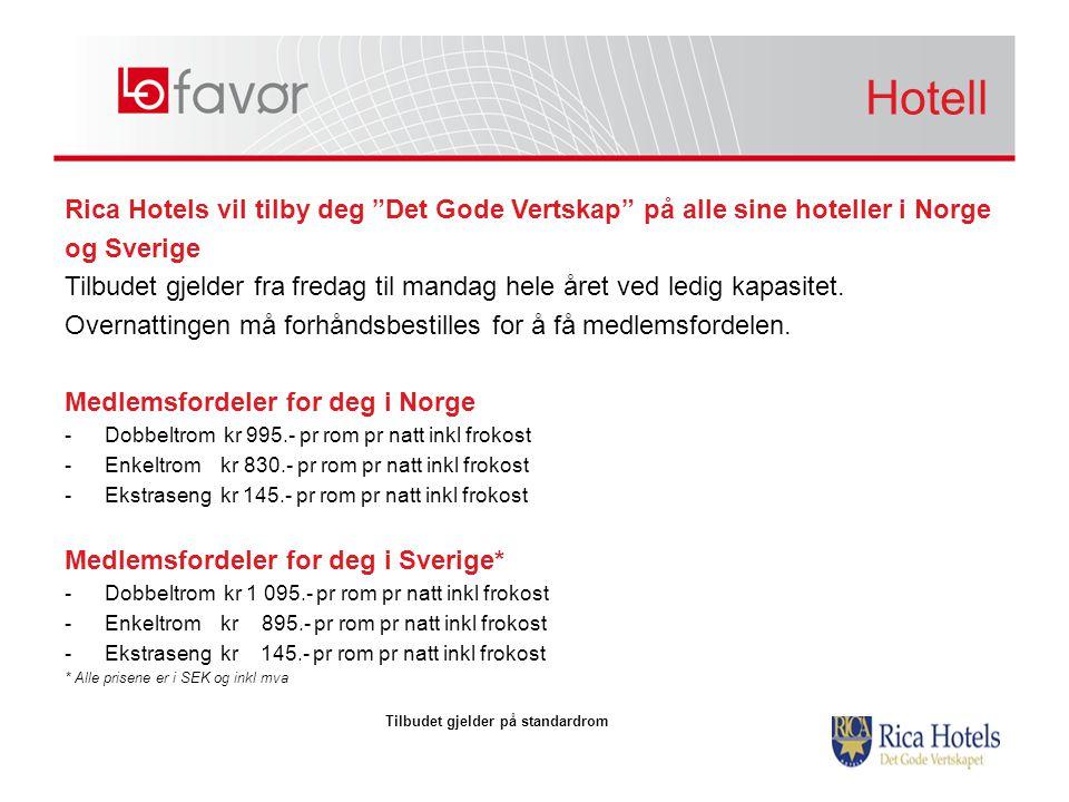 """Rica Hotels vil tilby deg """"Det Gode Vertskap"""" på alle sine hoteller i Norge og Sverige Tilbudet gjelder fra fredag til mandag hele året ved ledig kapa"""