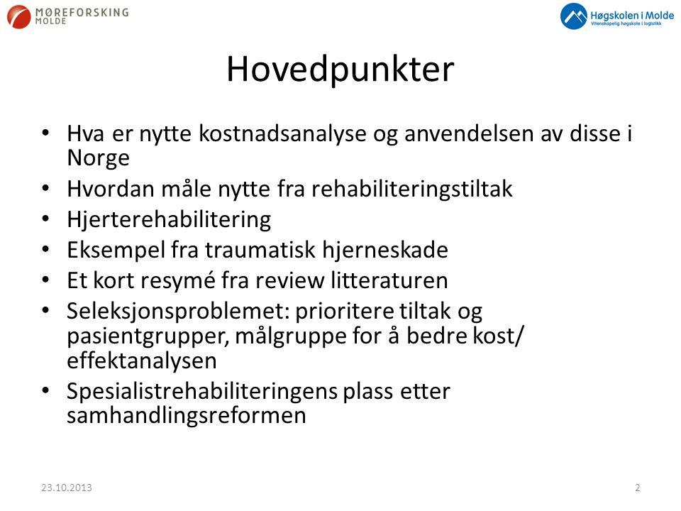 Hovedpunkter • Hva er nytte kostnadsanalyse og anvendelsen av disse i Norge • Hvordan måle nytte fra rehabiliteringstiltak • Hjerterehabilitering • Ek