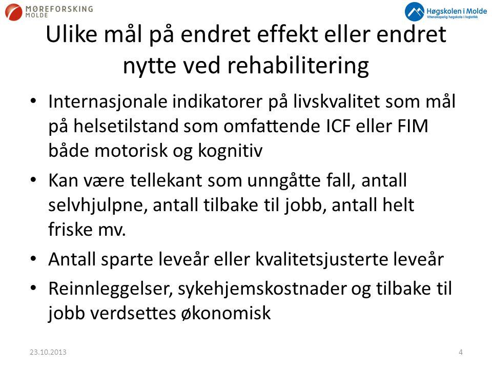Ulike mål på endret effekt eller endret nytte ved rehabilitering • Internasjonale indikatorer på livskvalitet som mål på helsetilstand som omfattende