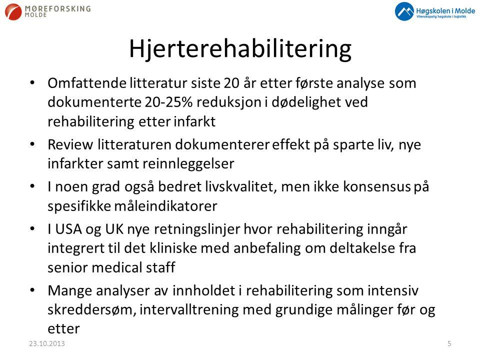 Hjerterehabilitering • Omfattende litteratur siste 20 år etter første analyse som dokumenterte 20-25% reduksjon i dødelighet ved rehabilitering etter