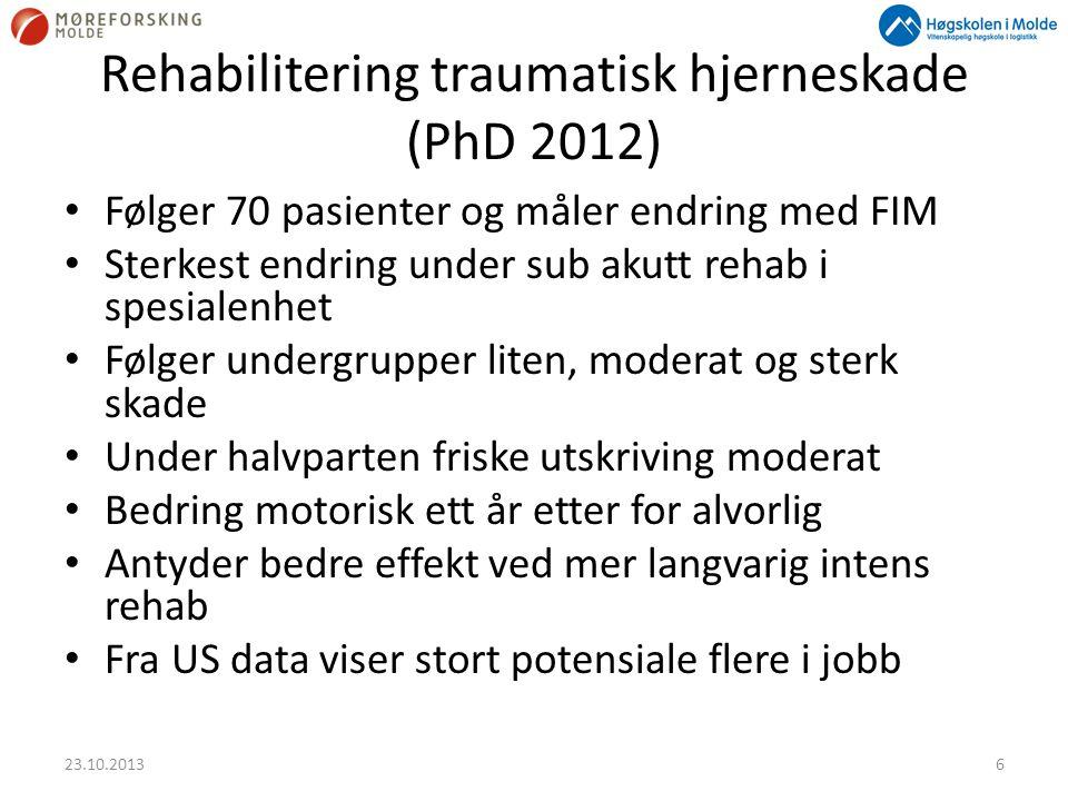 Rehabilitering traumatisk hjerneskade (PhD 2012) • Følger 70 pasienter og måler endring med FIM • Sterkest endring under sub akutt rehab i spesialenhe