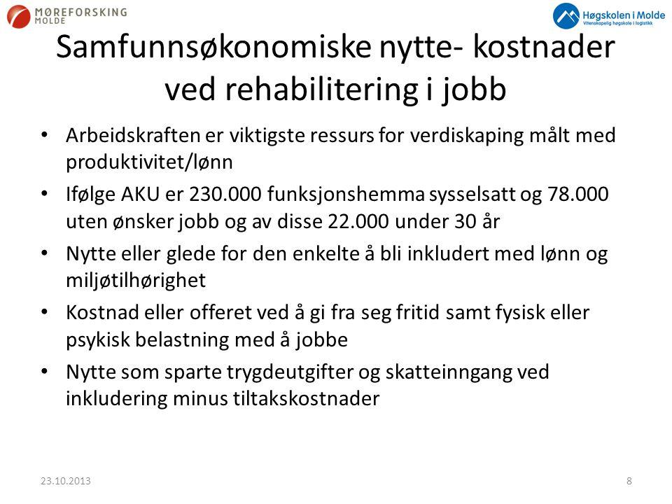 Samfunnsøkonomiske nytte- kostnader ved rehabilitering i jobb • Arbeidskraften er viktigste ressurs for verdiskaping målt med produktivitet/lønn • Ifø