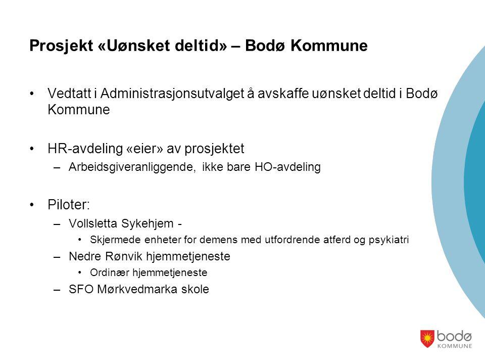 Prosjekt «Uønsket deltid» – Bodø Kommune •Vedtatt i Administrasjonsutvalget å avskaffe uønsket deltid i Bodø Kommune •HR-avdeling «eier» av prosjektet –Arbeidsgiveranliggende, ikke bare HO-avdeling •Piloter: –Vollsletta Sykehjem - •Skjermede enheter for demens med utfordrende atferd og psykiatri –Nedre Rønvik hjemmetjeneste •Ordinær hjemmetjeneste –SFO Mørkvedmarka skole