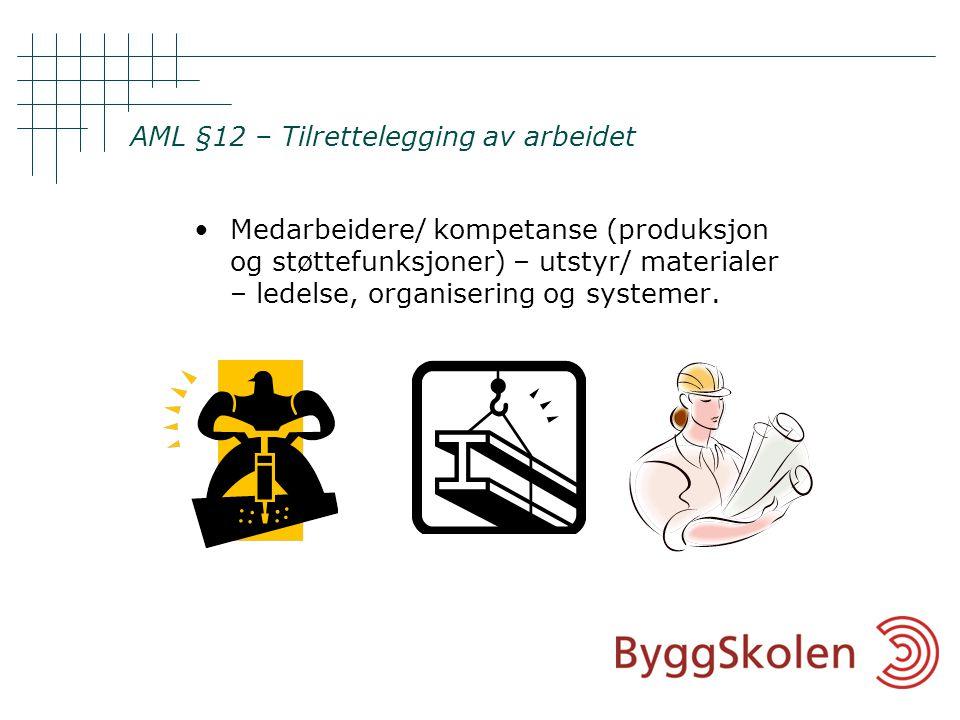 AML §12 – Tilrettelegging av arbeidet •Medarbeidere/ kompetanse (produksjon og støttefunksjoner) – utstyr/ materialer – ledelse, organisering og systemer.