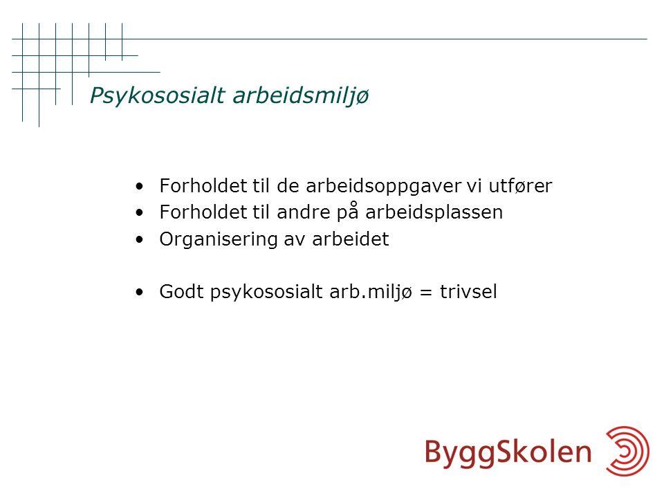 Psykososialt arbeidsmiljø •Forholdet til de arbeidsoppgaver vi utfører •Forholdet til andre på arbeidsplassen •Organisering av arbeidet •Godt psykososialt arb.miljø = trivsel
