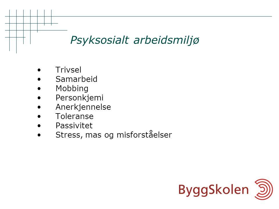 Psyksosialt arbeidsmiljø •Trivsel •Samarbeid •Mobbing •Personkjemi •Anerkjennelse •Toleranse •Passivitet •Stress, mas og misforståelser