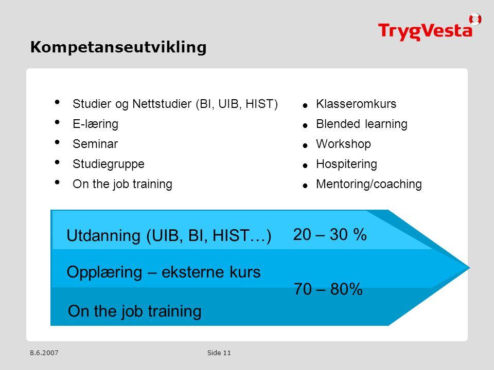 8.6.2007 Side 11 Kompetanseutvikling 20 – 30 % 70 – 80% On the job training Opplæring – eksterne kurs Utdanning (UIB, BI, HIST…) • Studier og Nettstud