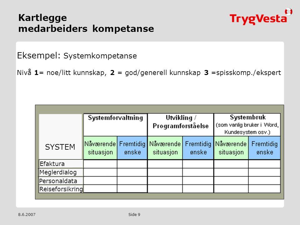 8.6.2007 Side 9 Kartlegge medarbeiders kompetanse Eksempel: Systemkompetanse Nivå 1= noe/litt kunnskap, 2 = god/generell kunnskap 3 =spisskomp./eksper