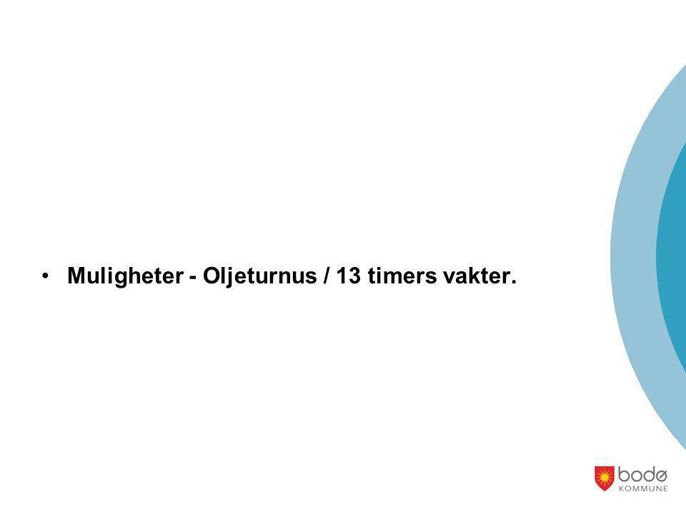 •Muligheter - Oljeturnus / 13 timers vakter.