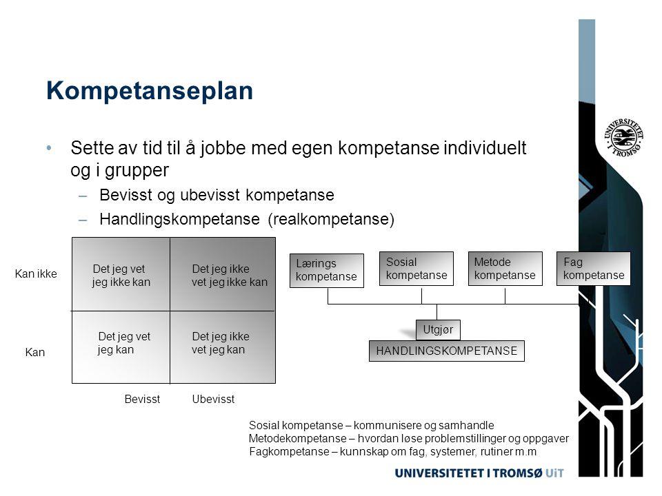 Kompetanseplan •Sette av tid til å jobbe med egen kompetanse individuelt og i grupper – Bevisst og ubevisst kompetanse – Handlingskompetanse (realkomp