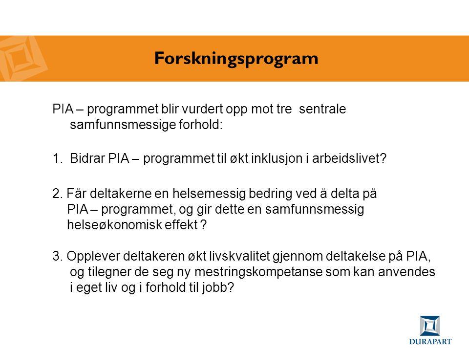Forskningsprogram PIA – programmet blir vurdert opp mot tre sentrale samfunnsmessige forhold: 1.Bidrar PIA – programmet til økt inklusjon i arbeidsliv