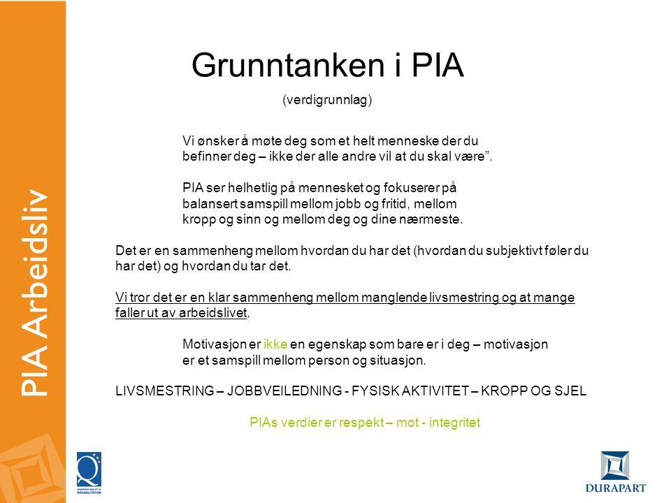 """PIA Arbeidsliv Vi ønsker å møte deg som et helt menneske der du befinner deg – ikke der alle andre vil at du skal være"""". PIA ser helhetlig på menneske"""