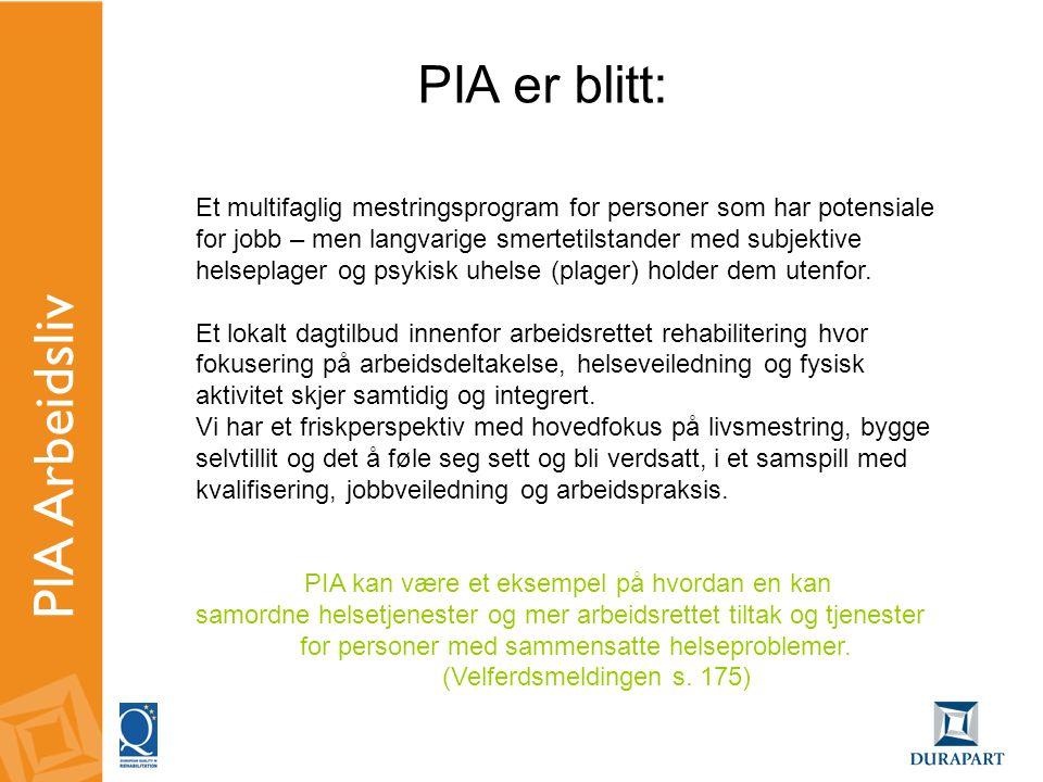 Rammene for PIA - aktivitet Oppstart 3 ganger pr år • 20 deltakere pr.