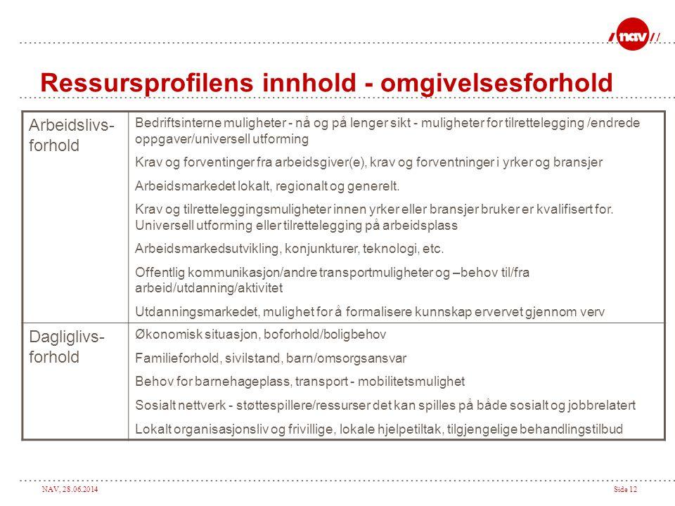 NAV, 28.06.2014Side 12 Ressursprofilens innhold - omgivelsesforhold Arbeidslivs- forhold Bedriftsinterne muligheter - nå og på lenger sikt - mulighete