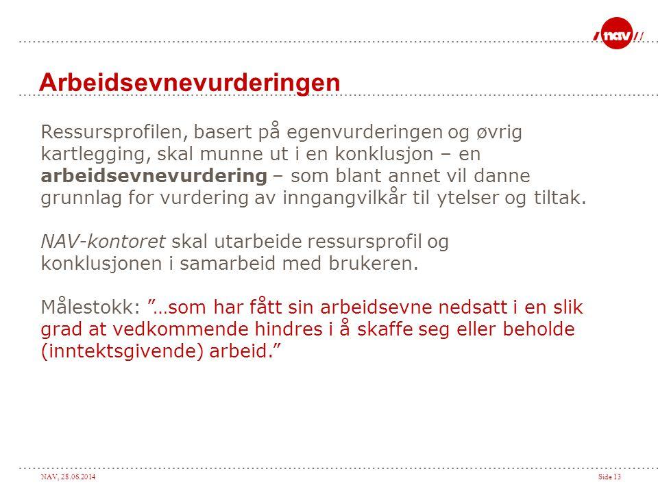 NAV, 28.06.2014Side 13 Arbeidsevnevurderingen Ressursprofilen, basert på egenvurderingen og øvrig kartlegging, skal munne ut i en konklusjon – en arbe