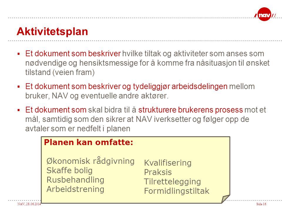 NAV, 28.06.2014Side 16 Aktivitetsplan  Et dokument som beskriver hvilke tiltak og aktiviteter som anses som nødvendige og hensiktsmessige for å komme