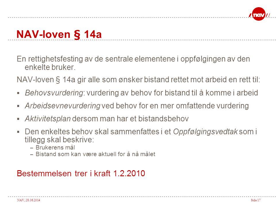 NAV, 28.06.2014Side 17 NAV-loven § 14a En rettighetsfesting av de sentrale elementene i oppfølgingen av den enkelte bruker. NAV-loven § 14a gir alle s