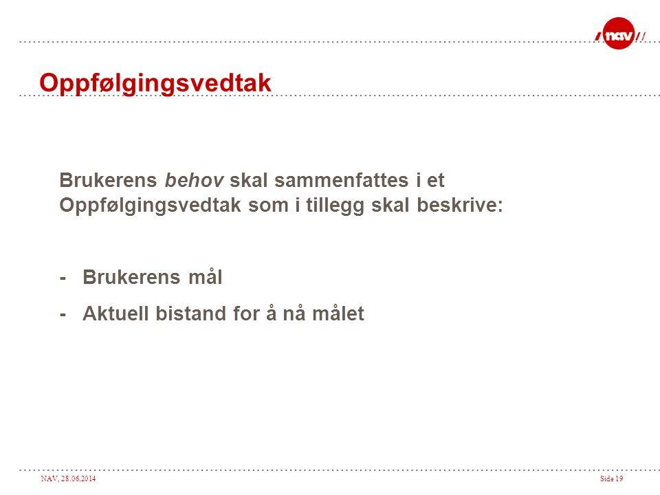 NAV, 28.06.2014Side 19 Oppfølgingsvedtak Brukerens behov skal sammenfattes i et Oppfølgingsvedtak som i tillegg skal beskrive: - Brukerens mål - Aktue
