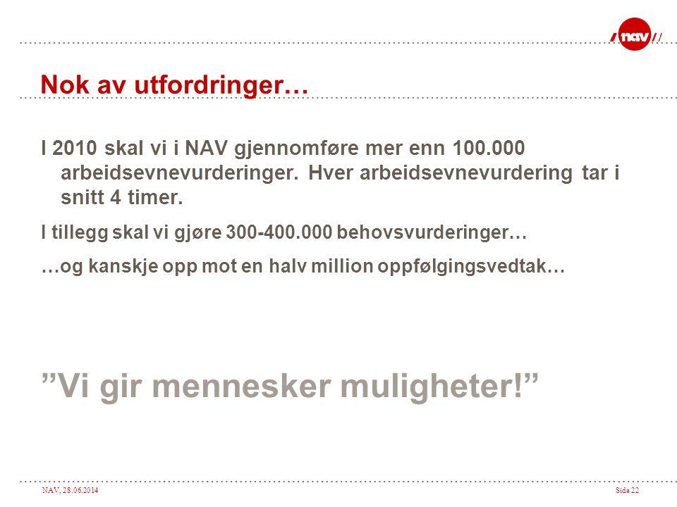 NAV, 28.06.2014Side 22 Nok av utfordringer… I 2010 skal vi i NAV gjennomføre mer enn 100.000 arbeidsevnevurderinger. Hver arbeidsevnevurdering tar i s