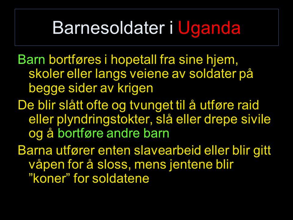 Barnesoldater i Uganda Barn bortføres i hopetall fra sine hjem, skoler eller langs veiene av soldater på begge sider av krigen De blir slått ofte og t
