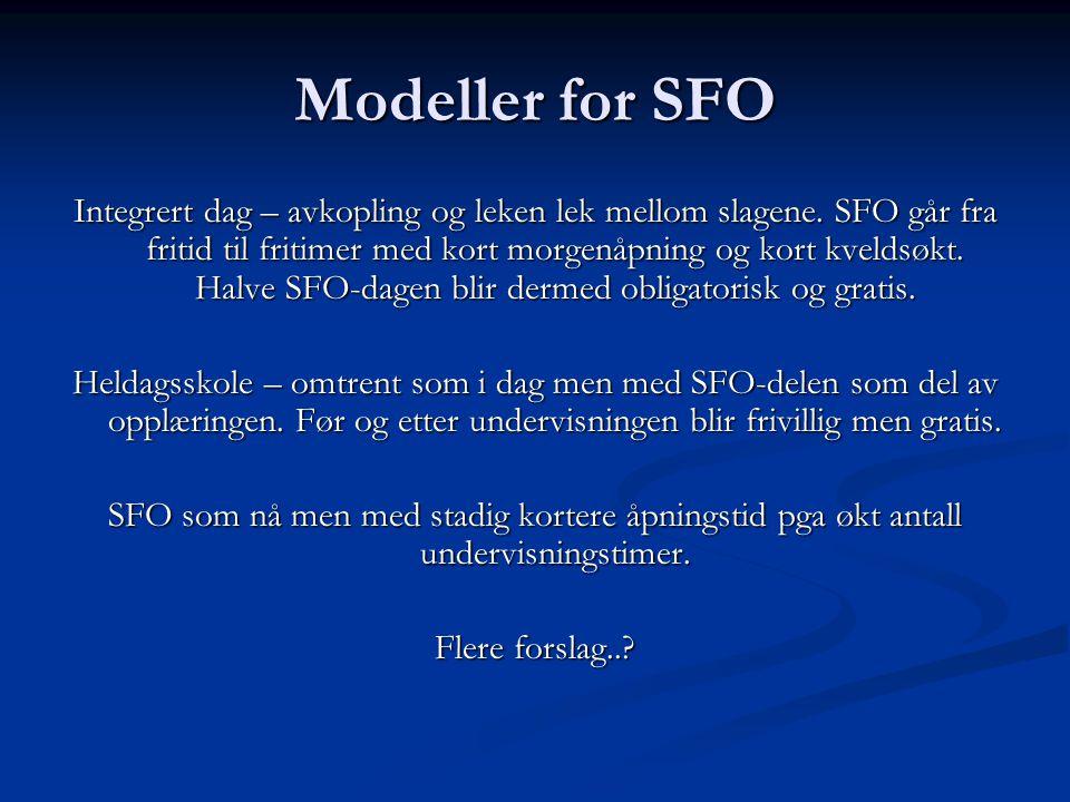 Modeller for SFO Integrert dag – avkopling og leken lek mellom slagene. SFO går fra fritid til fritimer med kort morgenåpning og kort kveldsøkt. Halve