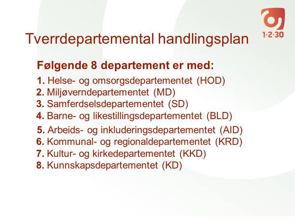 Tverrdepartemental handlingsplan Følgende 8 departement er med: 1. Helse- og omsorgsdepartementet (HOD) 2. Miljøverndepartementet (MD) 3. Samferdselsd